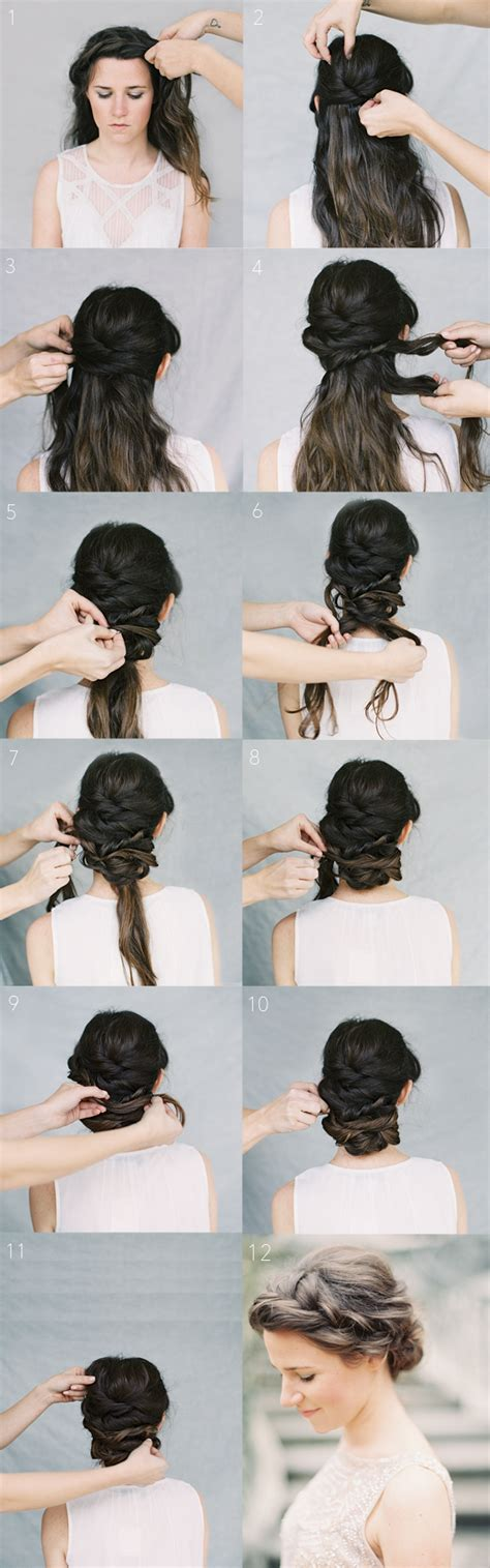 Hairstyles For Medium Hair Tutorials by Crown Braid Chignon Tutorial Once Wed