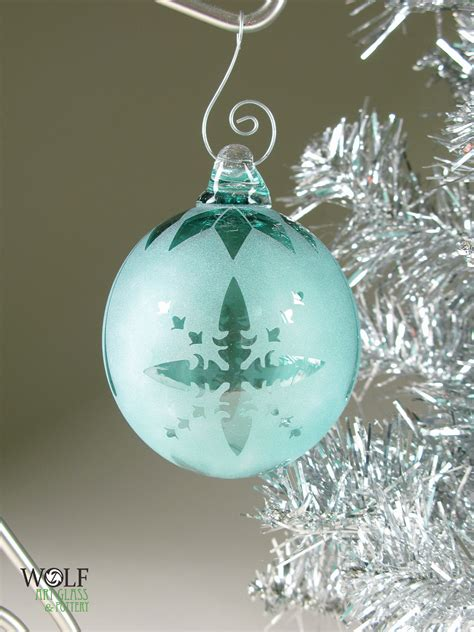blown glass christmas tree ornament signature series teal blue