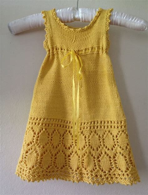 pattern yellow dress adorable lace pattern hand knitted yellow dress baby girl