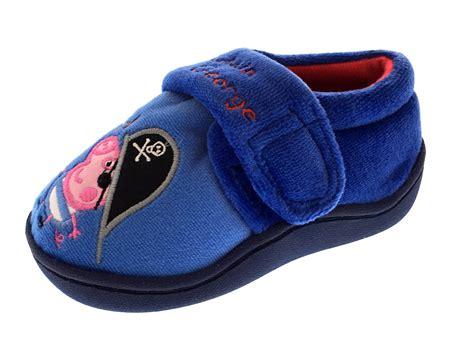 size 4 boys slippers boys peppa pig george novelty slippers fleece