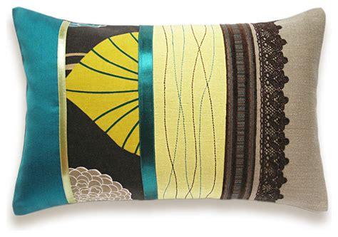 teal green beige brown lumbar pillow 12 x 18 in irma