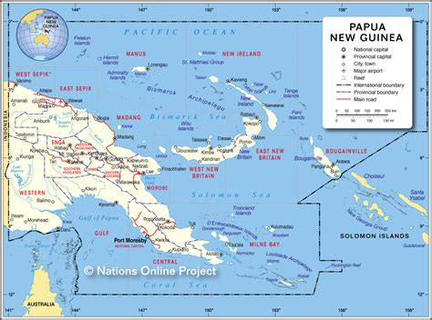 new guinea map island papua new guinea map