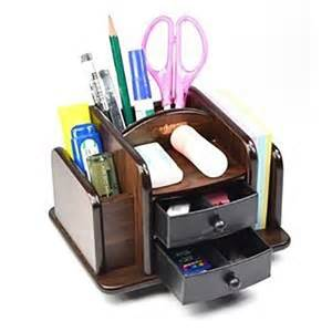 Desk Sorter Organizer Wood Rotating Desktop Organizer Sorter Storage Holder Office Desk W 2 Drawers Ebay