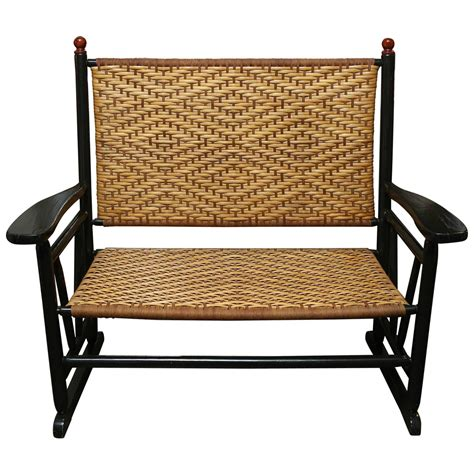 black lacquer bench with rattan seat at 1stdibs