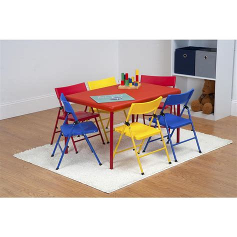 Folding Table Chair Set Safety 1st 7 Folding Table And Chair Set 37372red1e The Home Depot