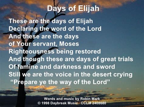 days are lyrics days of elijah lyrics