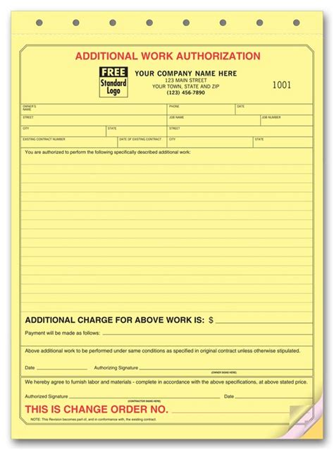 additional work authorization template managing change orders on remodeling projects