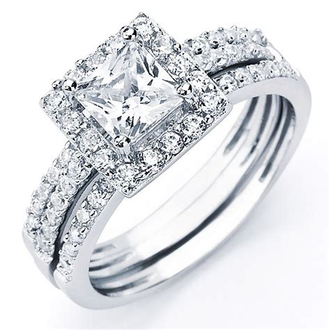 Wedding Rings Zirconia by Bridal Sets Bridal Sets Cubic Zirconia Princess Cut