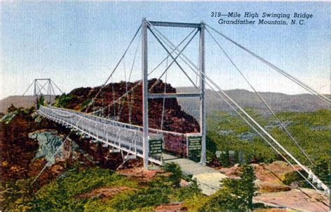 grandfather mountain mile high swinging bridge penny postcards from north carolina