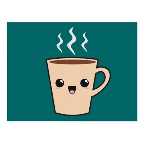 Coffee Cup Design by Kawaii Coffee Monster Postcard Zazzle
