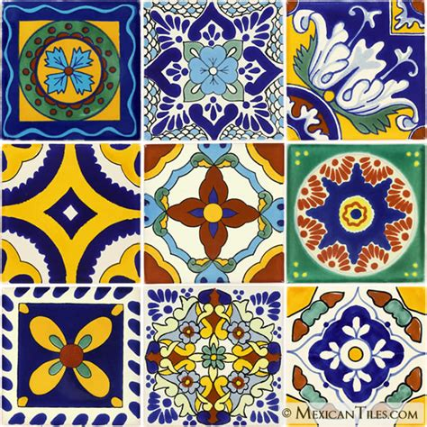 mexican tile set of 9 4 188 quot x 4 188 quot mexican talavera tiles
