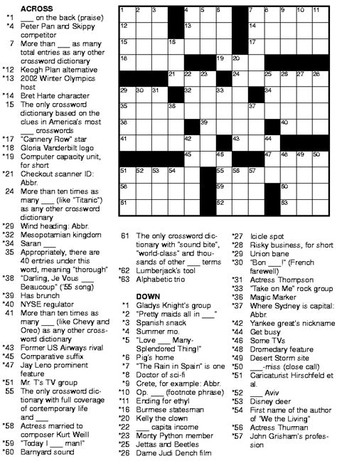 Usa Today Printable Crossword Puzzles Free