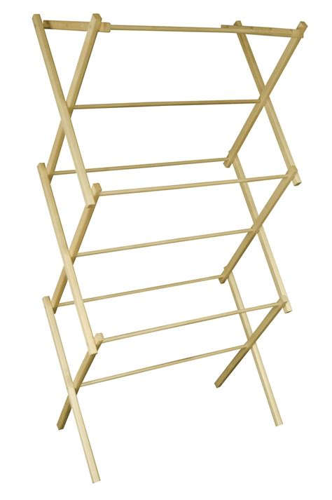 Clothesline Rack by Mid Size Portable Wooden Clothes Drying Rack