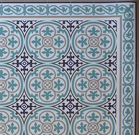 blue pattern lino linoleum rug vanill co