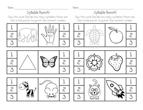 Free Syllable Worksheets For Kindergarten by Syllable Sort Worksheet Kindergarten S Grade