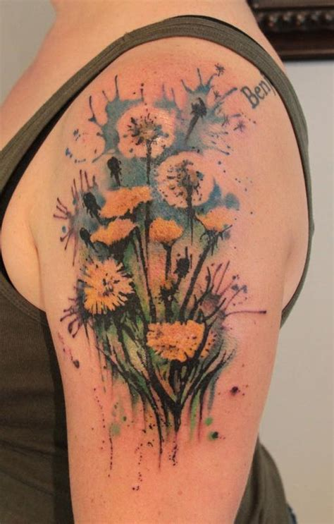 gene coffey tattoo dandelion by gene coffey tattoonow