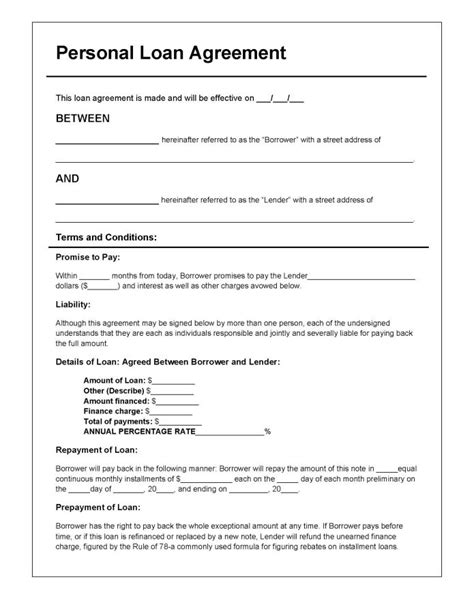 rate agreement template personal loan agreement template pdf rtf