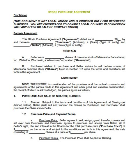Agreement Letter For Purchase Sle Stock Purchase Agreement 8 Exle Format