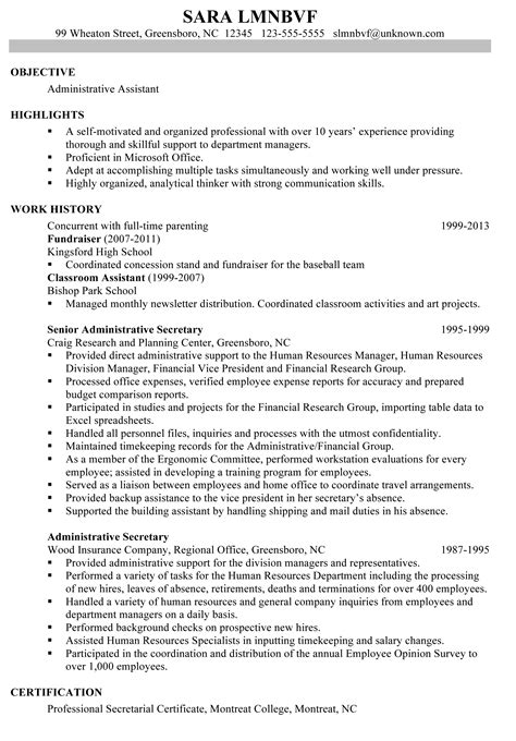 resumes exles resume sle for an administrative assistant susan