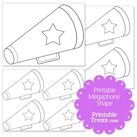 Printable Megaphone With Star Shape Printable Treats Com Free Printable Paper Megaphone Template