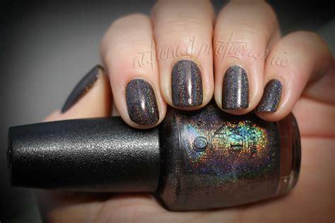 black holographic nail polish opi my private jet running and notd opi my private jet holo nationail