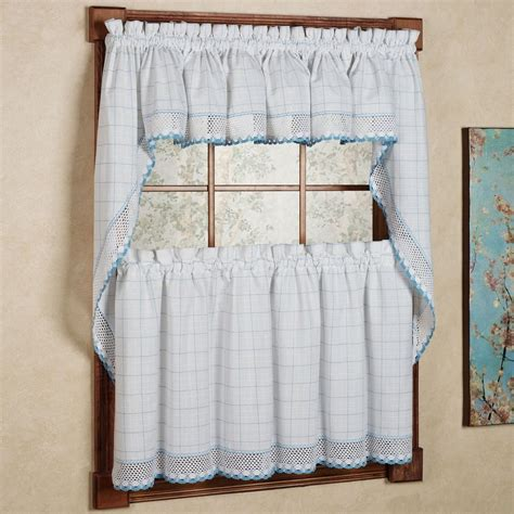 White Kitchen Curtains Valances Adirondack Cotton Kitchen Window Curtains White Blue Tiers Valance Or Swag Ebay