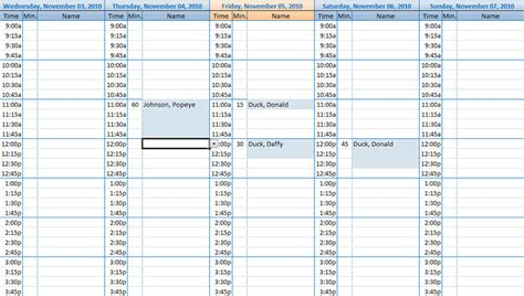 excel contact appointment scheduler  contact scheduler