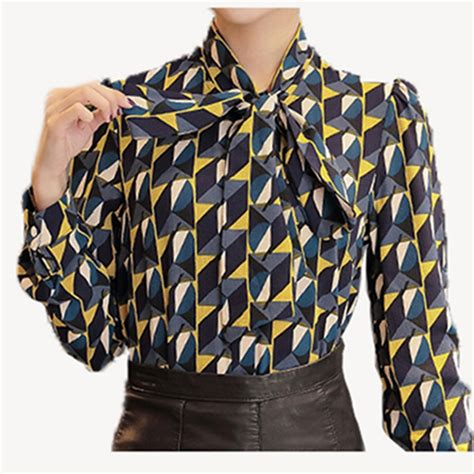 pattern shirt fashion new work wear office 2016 shirt women tops yellow floral