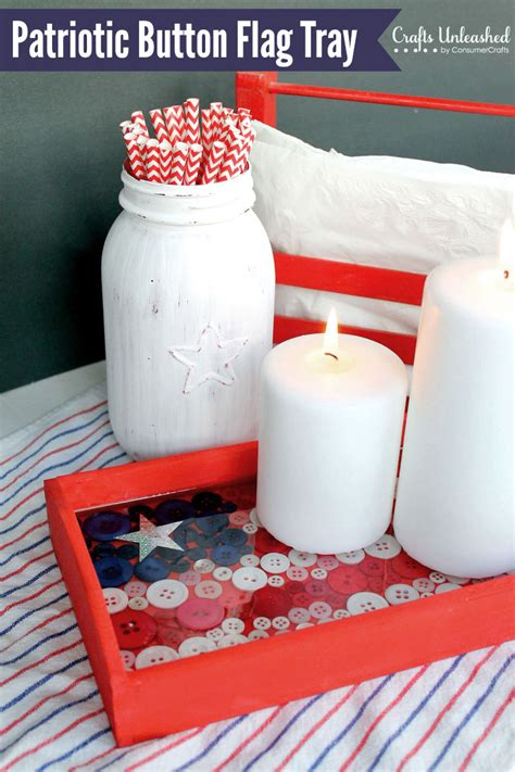 4th of july home decor 4th of july decor diy button flag tray tutorial