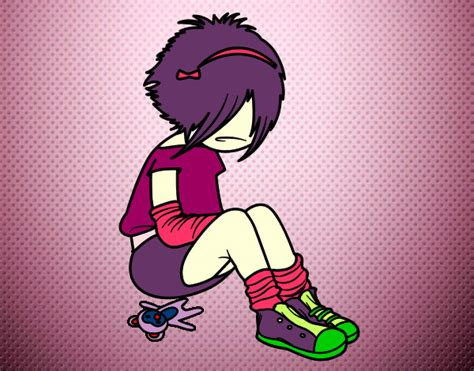 imagenes emo para pintar dibujo de chica frustrada por amor emo pintado por paolaa