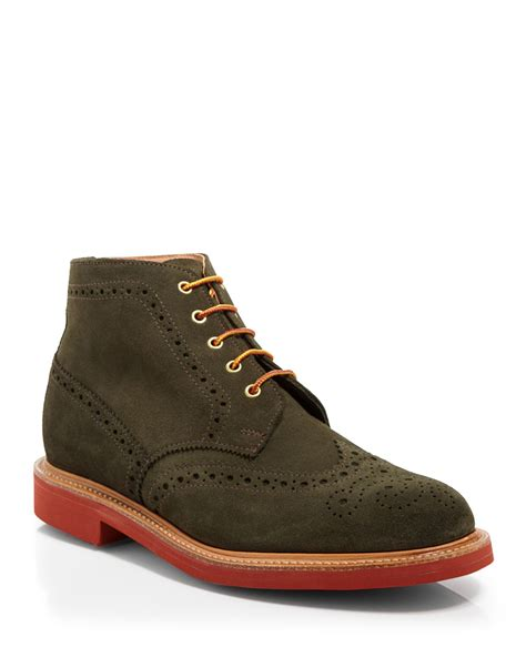 mens wingtip boots sale mcnairy new amsterdam wingtip boots in green for