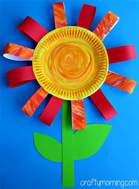 Paper Crafts For Children - paper plate flower craft for crafty morning