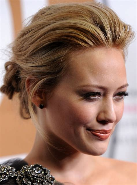 Pulled Back Hairstyles by Hilary Duff S Pulled Back Updo Hairstyle