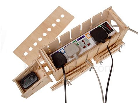 diy wooden at at walker storage box for power strip and