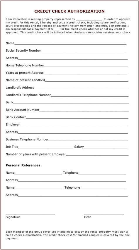 Background Check Authorization Form For Tenant Landlord Tenant Credit Check Authorization For