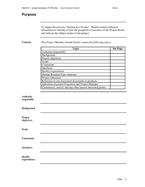 Mandate Template project mandate template project approach