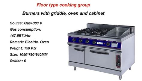 Oven Milux universal lpg gas stove gas range with burners and griddle