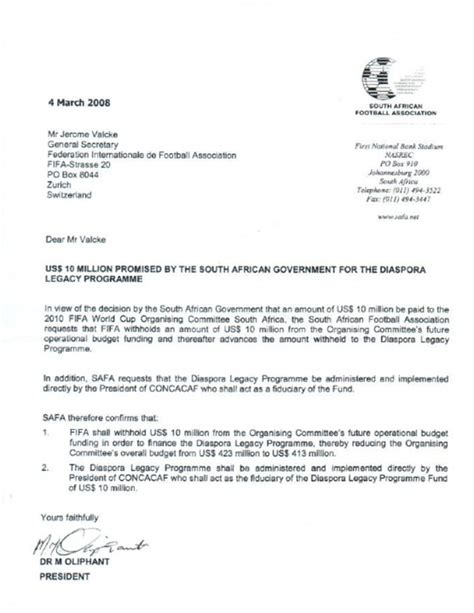 Letter Of Support For Visa South Africa South Africa Deny That 10m Payment Made To Warner In