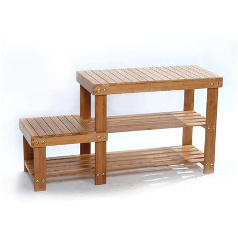 bamboo shoe rack bench nature bamboo shoe rack bench stool storage display rack