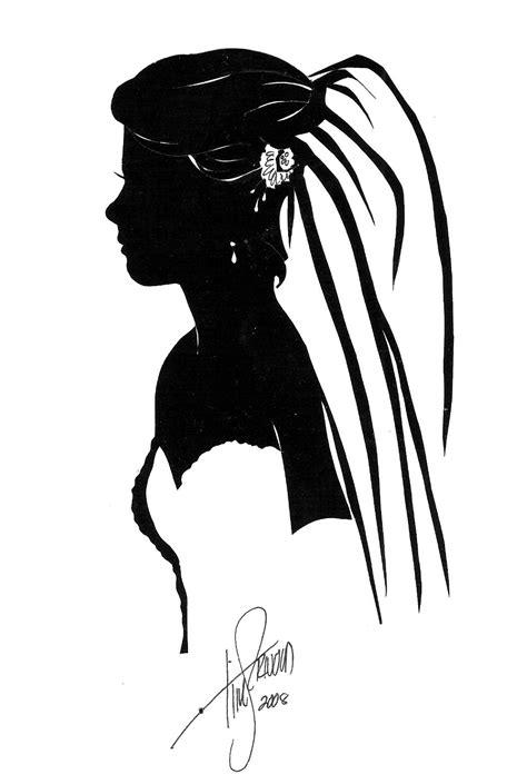 Bridal Portrait, cut paper silhouette by Tim Arnold