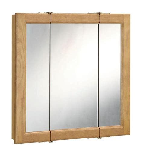 triple door mirrored medicine cabinet design house 530576 nutmeg oak 36 quot framed triple door