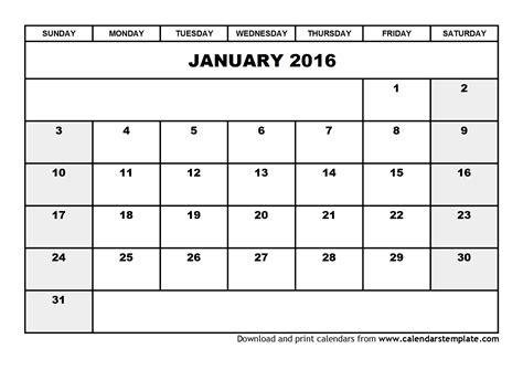 printable planner for january 2016 8 best images of 2016 calendar january printable free