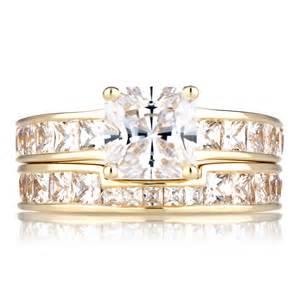 gold cubic zirconia princess cut wedding ring set