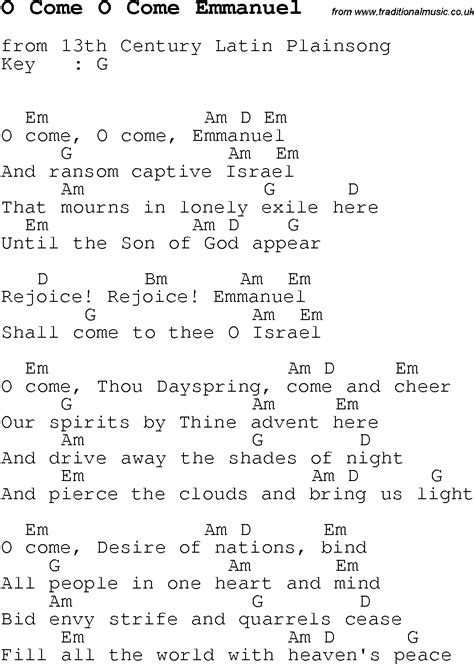 Oh Come Oh Come Emmanuel Guitar Chords