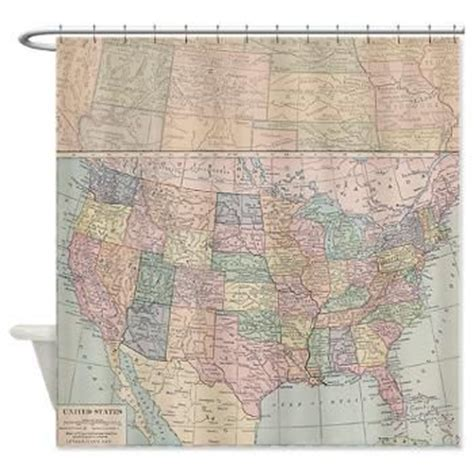 usa map shower curtain map fabric shower curtain vintage united states map