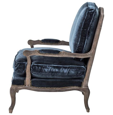 blue velvet style oak bergere arm chair