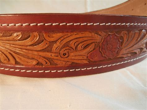 floral inset tooled leather sash belt by