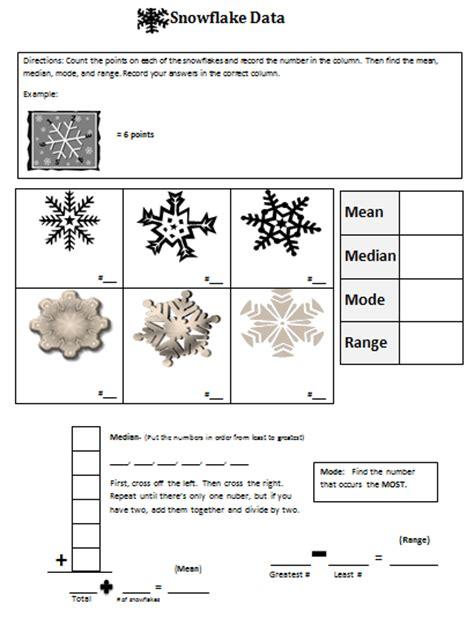 snowflake bentley worksheets classroom magic snowflake median mode and range