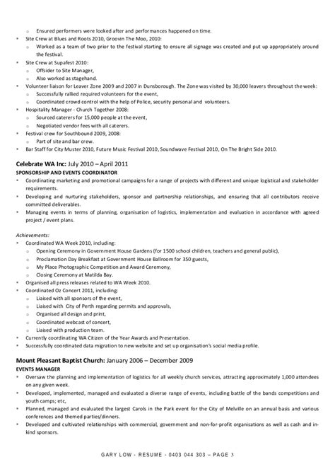 Resume Help Toowoomba Gary Low Resume