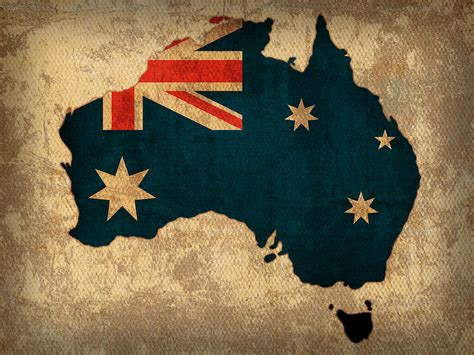 Map Of Australia With Flag Art On Distressed Worn Canvas